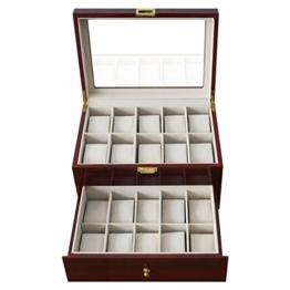 Feibrand Uhrenbox für 20 Uhren Uhrenkasten Rot Glas Holz - 1