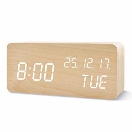 FiBiSonic Holz Digitaler Wecker, Digital LED Wecker mit 3 Einstellbare Helligkeit und Sprachsteuerung Uhrzeit anzeigen für Zuhause Schlafzimmer Office Kids Teens Bambus - 1