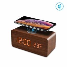 FiBiSonic LED Holz Wecker digital mit Wireless Charger für Qi-fähigen Handys, wecker mit ladestation Tischuhr Dekoration mit 3 Alarm für Schlafzimmer/Büro Braun - 1