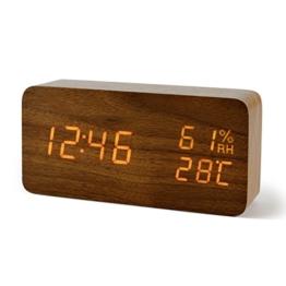 FiBiSonic Wecker Digitale Tischuhr LED Datum Feuchtigkeit Temperatur Holzoptik Standuhr Dekoration Alarm - 1