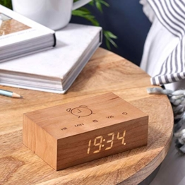Gingko Flip Click Clock LED Alarm Clock Sound Activated with New Flip Technology, Rechargeable with Laser Engraved Touch Controls, Cherry - 1