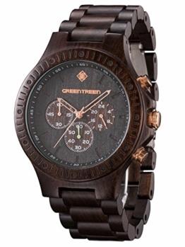 GreenTreen Chronographenuhr Herrenuhr mit Holz Armband 5ATM Wasserresistente (schwarz) (schwarz) - 1