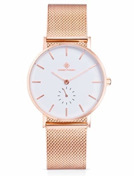 GREENTREEN Herren Damen Uhren Ultra Dünne Analog Quarzwerk mit Mesh Metall-Armband, 5 ATM Wasserdicht (Roségold) - 1