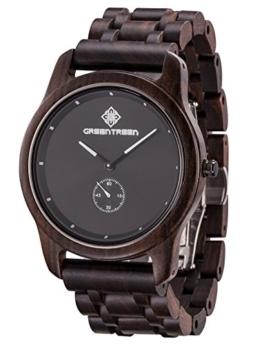 Greentreen Herren Holzuhr, Armbanduhr für Männer mit Holzarmband Analog Quarz (schwarz2) - 1