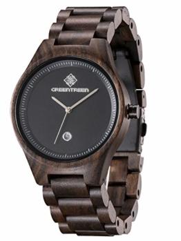 Greentreen Herren Holzuhr, Armbanduhr für Männer mit Holzarmband Analog Quarz (schwarz) - 1