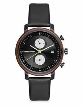 GREENTREEN Retro-Serie Herren Uhren Chronograph Analog Quarz mit Datumsanzeige, 3 ATM Wasserdicht (Schwarz) - 1