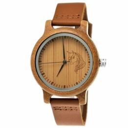 Handgefertigte Holzwerk Germany® Mädchen-Uhr Öko Natur Holz-Uhr Leder Armband-Uhr Analog Klassisch Quarz-Uhr mit Einhorn Unicorn Motiv in Braun - 1