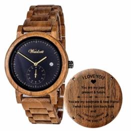 Herren Holzuhr mit Gravur - Armbanduhr aus Naturholz mit Datumanzeige- Waidzeit - Geschenk für Freund - 1