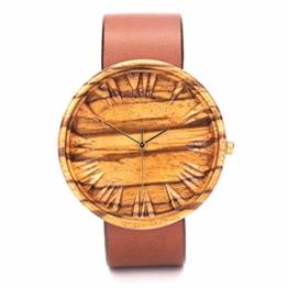 Holz Armbanduh Männer | Schweizer Quarzuhrwerk Holzuhr Herren | Geschenk für Männer | 42mm Zebra Holzkern Uhren - 1