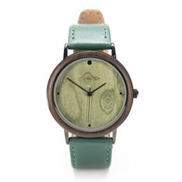 Holzuhren von Ovi Watch mit Grün Lederarm Band, Nachhaltigkeit und Design formschön kombiniert - 1