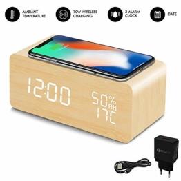 HZDHCLH Digitaler Wecker, 10 W, mit Temperatur/Luftfeuchtigkeit/Kalender, Helligkeit verstellbar, Stromversorgung über USB, kabelloses Laden Qi LED aus Holz - 1