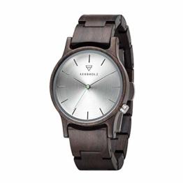 Kerbholz Holzuhr – Classics Collection Gitta Analoge Quarz Uhr Für Damen, Gehäuse Und Verstellbares Armband Aus Massivem Naturholz, Ø 35Mm - 1