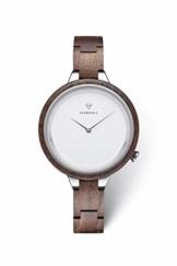 KERBHOLZ Holzuhr – Classics Collection Hinze analoge Quarz Uhr für Damen, Gehäuse und verstellbares Armband aus massivem Naturholz, Ø 38mm, Walnuss Silber Weiß - 1