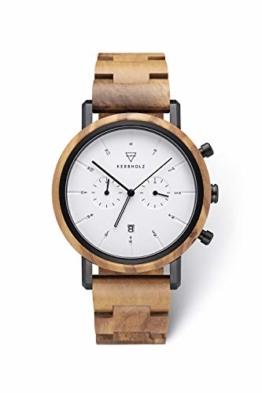 KERBHOLZ Holzuhr – Classics Collection Johann Quarz Uhr, Chronograph für Herren, Gehäuse und verstellbares Armband aus massivem Naturholz, Ø 45mm, Olivenholz Schwarz Weiß - 1