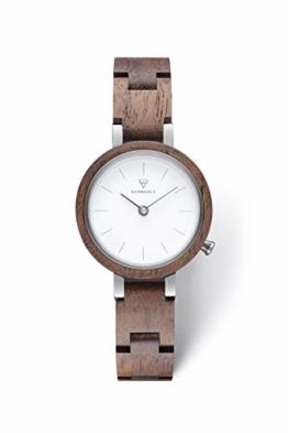KERBHOLZ Holzuhr – Classics Collection Matilda analoge Quarz Uhr für Damen, Gehäuse und verstellbares Armband aus massivem Naturholz, Ø 27mm, Walnuss Weiß - 1