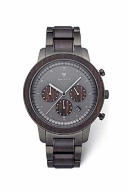KERBHOLZ Holzuhr – Classics Collection Maximilan Quarz Uhr, Holz Chronograph für Herren, verstellbares Armband aus massivem Edelstahl, Ø 44mm - 1