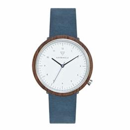KERBHOLZ Holzuhr – Masterpieces Collection Heinrich analoge Unisex Quarz Uhr, Naturholz Gehäuse, echtes Lederarmband, Ø 40mm, Walnuss Schiefer-Blau - 1