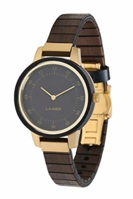 LAiMER Damen-Armbanduhr ELISA Mod. 0084 aus Sandelholz - Analoge Quarz-Uhr mit flexiblem Holzarmband - 1