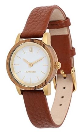 LAiMER Damen-Armbanduhr FELICIA Mod. 0091 aus Zebranoholz - Analoge Quarz-Uhr mit Lederarmband - 1