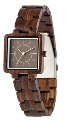 LAiMER Damen-Armbanduhr  ISABEL Mod. 0056 aus Sandelholz - Analoge Quarzuhr mit dunklem Holzarmband - 1