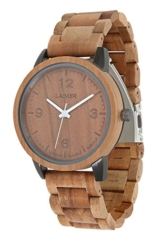 LAiMER Herren-Armbanduhr EDDI Mod. 0085 aus Apfelholz - Analoge Quarz-Uhr mit braunem Holzarmband - 1