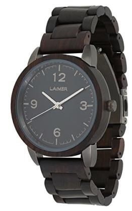 LAiMER Herren-Armbanduhr EDUARD Mod. 0086 aus Sandelholz - Analoge Quarz-Uhr mit braunem Holzarmband - 1
