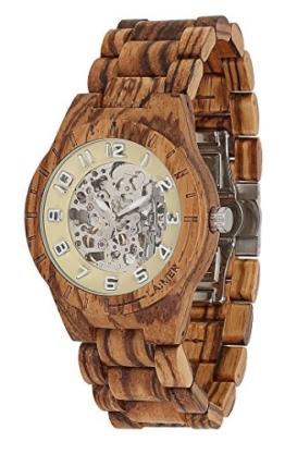 LAiMER Herren-Armbanduhr RALF Mod. 0097 aus Zebranoholz - Analoge Automatikuhr mit Skelett-Uhrwerk - 21 Jewels - 1