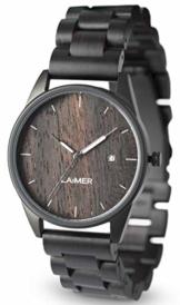 LAiMER Herren-Armbanduhr SASCHA Mod. 0075 aus Sandelholz - Analoge Quarzuhr mit Edelstahlgehäuse und braunem Holzarmband - 1