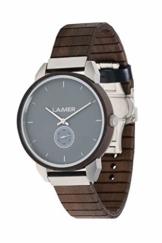 LAiMER Herren Holzuhr - FELI aus Massivholz - Analog Quarz mit Flex-Uhrband - Ø 42mm - Zero Waste Verpackung - 1