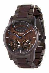 LAiMER Holzuhr - Armbanduhr ADAM aus Massivholz - analoge Herren Automatikuhr 47 Juwelen mit Gangreserveanzeige und Leuchtzeiger - Ø 43mm - Zero Waste Verpackung aus Naturholz - 1