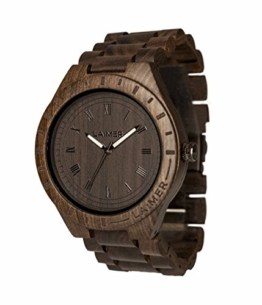 LAiMER Holzuhr - Armbanduhr Black Edition aus Edelholz - Holz - Uhr- analoge Herren Quarzuhr mit Leuchtzeiger - Ø 50mm - Zero Waste Verpackung aus Naturholz - 1