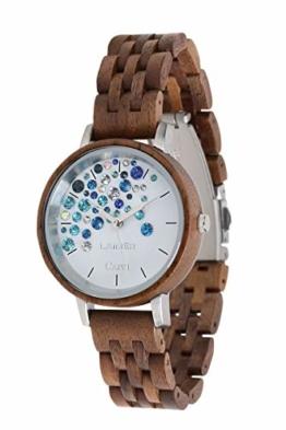 LAiMER Holzuhr - Armbanduhr Capri WALNUSS aus Massivholz - analoge Damen Quarzuhr mit Kristalle von Swarovski - Ø 36mm - Zero Waste Verpackung aus Naturholz - 1