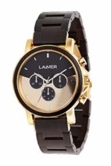 LAiMER Holzuhr - Armbanduhr IAN aus Massivholz - analoger Herren Quarz-Chronograph mit Leuchtzeiger & 24h-Anzeige - Ø 43mm - Zero Waste Verpackung aus Naturholz - 1