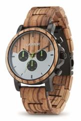 LAiMER Holzuhr - Armbanduhr INGO aus Massivholz - analoger Herren Quarz-Chronograph mit Leuchtzeiger & 24h-Anzeige - Ø 43mm - Zero Waste Verpackung aus Naturholz - 1