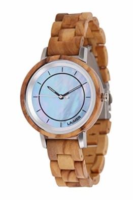 LAiMER Holzuhr - Armbanduhr Klarissa aus Massivholz - analoge Damen Quarzuhr mit Zifferblatt aus Perlmutt & Leuchtzeiger - Ø 36mm - Zero Waste Verpackung aus Naturholz - 1