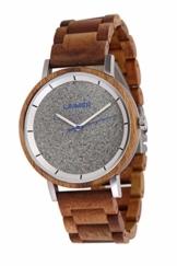 LAiMER Holzuhr - Armbanduhr Ludwig aus Massivholz - analoge Herren Quarzuhr mit Zifferblatt aus Granit & Leuchtzeiger - Ø 42mm - Zero Waste Verpackung aus Naturholz - 1