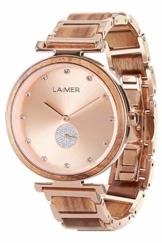 LAiMER Holzuhr - Armbanduhr MIA aus Massivholz - analoge Damen Quarzuhr mit Kristalle von Swarovski & versteckter Schließe - Ø 36mm - Zero Waste Verpackung aus Naturholz - 1