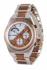 LAiMER Holzuhr - Armbanduhr Milo SOLAR aus Massivholz - analoger Herren Chronograph mit Solaruhrwerk & Leuchtzeiger sowie 24h und Datumsanzeige - Ø 43mm - Zero Waste Verpackung aus Naturholz - 1