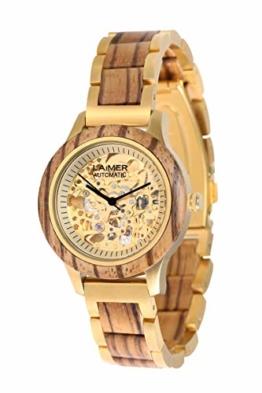 LAiMER Holzuhr - Armbanduhr RESI aus Massivholz - analoge Damen Automatikuhr - Skelettuhrwerk mit 21 Juwelen - Ø 36mm - Zero Waste Verpackung aus Naturholz - 1