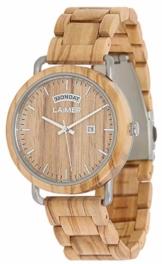 LAiMER Holzuhr FILIPPO - Herren Armbanduhr aus italienischem Olivholz, Grosse Datums und Tagesanzeige, atmungsaktives Holzarmband Modell 0111, Geschenk- Verpackung aus Holz - 1