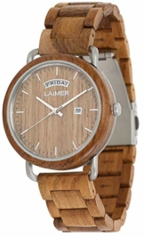 LAiMER Holzuhr FINN - Herren Armbanduhr aus Teakholz, Grosse Datums und Tagesanzeige, atmungsaktives Holzarmband, federleicht, Geschenk- Verpackung aus Holz - 1
