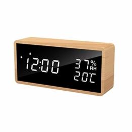 LED Wecker Flysocks digitaler Wecker, Sprachsteuerung, Datum, Temperatur und Luftfeuchtigkeit Tischuhr, geeignet Tische, Wohnzimmer, Kinderzimmer und Büro - 1