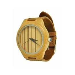 Munixwood Bambus Holzarmbanduhr mit Lederarmband und Uhrenbox Holzuhr Öko - 1