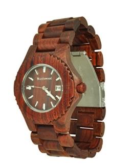 Munixwood Chocolate Holz Armbanduhr Sandelholz mit Datum und Uhrenbox - 1