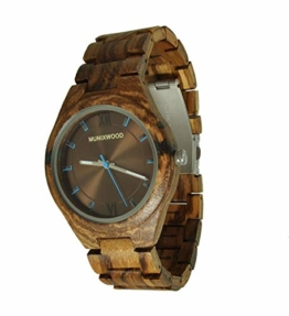Munixwood Holzarmbanduhr Splash Zebraholz mit Uhrenbox - 1