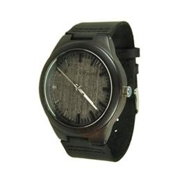 Munixwood Lynx Holzarmbanduhr mit Lederband schwarz NEU mit Box Ebenholz - 1
