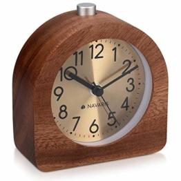 Navaris Analog Holz Wecker mit Snooze - Retro Uhr Halbrund mit Ziffernblatt Gold Alarm Licht - Leise Tischuhr ohne Ticken - Naturholz in Dunkelbraun - 1