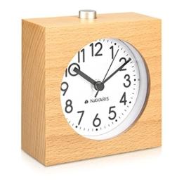 Navaris Analog Holz Wecker mit Snooze - Retro Uhr im Viereck Design mit Ziffernblatt Alarm - Leise Tischuhr ohne Ticken - Naturholz in Hellbraun - 1