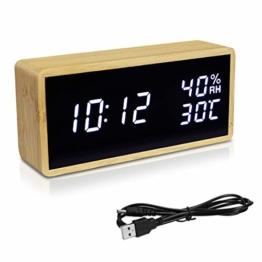 Navaris Bambus Digitalwecker - Luftfeuchtigkeit Temperatur Anzeige - Dimmer - 3 Alarmfunktionen - Acryl Display - Digitaluhr Wecker Hellbraun-Weiß - 1