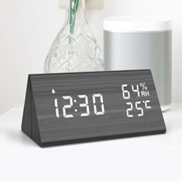 NBPOWER Wecker Digitaler LED Wecker Uhr Holz,Digitalwecker Tischuhr mit Sprachsteuerung/Snooze Funktion/Datum/Temperatur und Luftfeuchtigkeit, für Zuhause, Schlafzimmer, Nacht Kinder und Büro - 1